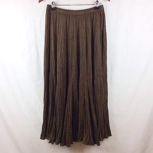 Chico's Long Crinkle Maxi Skirt Microsuede Full